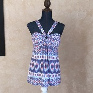 Tommy Bahama womens halter babydoll top blue coral